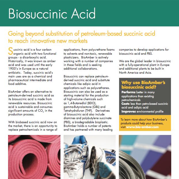 BioAmber Factsheet Biosuccinic Acid 2012