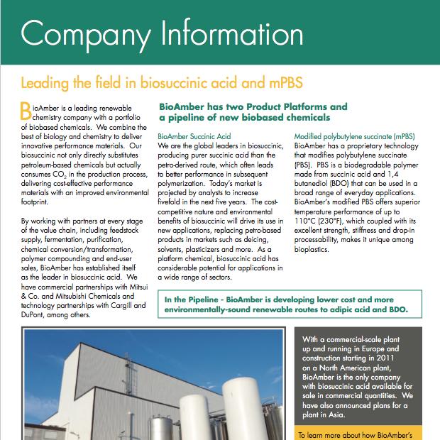 BioAmber Factsheet Company Information 2012