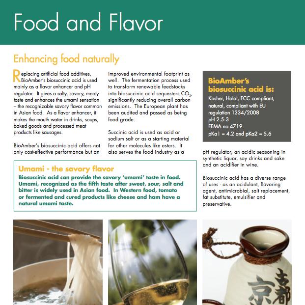 BioAmber Factsheet Food and Flavor 2012