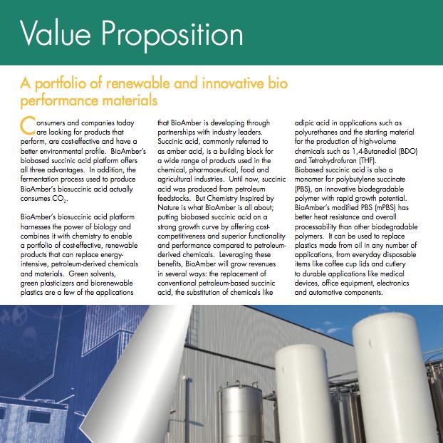 BioAmber Factsheet Value Proposition 2012