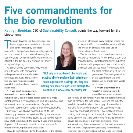 Kathryn Sheridan 'Five commandments for the bio revolution' in Speciality Chemicals Magazine May 2013