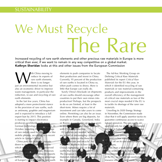 Kathryn Sheridan 'We Must Recycle the Rare' in CIWM January 2011