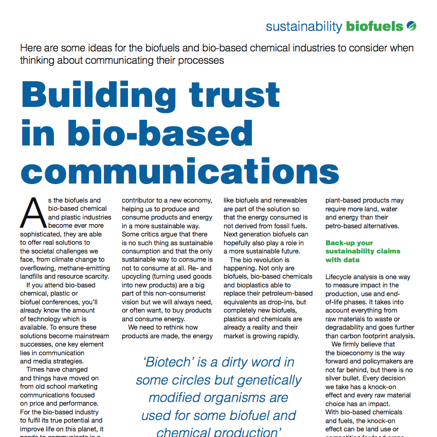Kathryn Sheridan 'Building Trust in Bio-based Communications' in Biofuels International July/August 2013