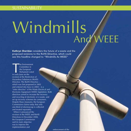 Kathryn Sheridan 'Windmills and WEE' in CIWM July 2010