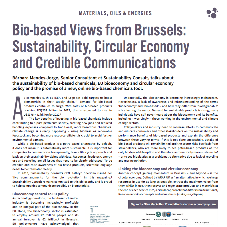 Bárbara Mendes Jorge 'Bio based Views from Brussels: Sustainability, Circular Economy and Credible Communications' in Speciality Chemicals Magazine August 2017