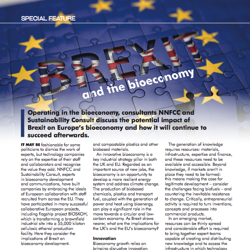 Bárbara Mendes Jorge and Bob Horton 'Brexit and the Bioeconomy' in Speciality Chemicals Magazine May 2018