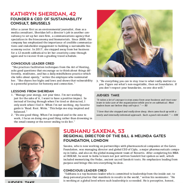Kathryn Sheridan as Top Conscious Business Leader 2018 in Conscious Company Magazine July 2018