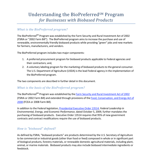 USDA - Understanding the BioPreferred Program 2016